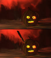 Knife collides with the Pumpkin Head