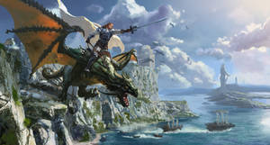 knight on dragon by mingrutu