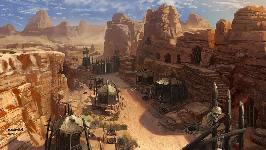concept art for a game by mingrutu on DeviantArt Oasis Landscape Wallpaper