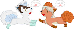 Commission: Candela and Blanche - Vulpix Plushes