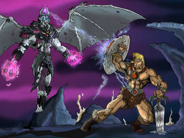 He-man vs. Rayven by JazylH