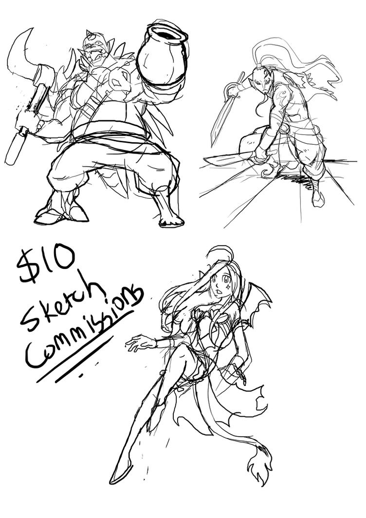 $10 Sketch Commission Examples by JazylH
