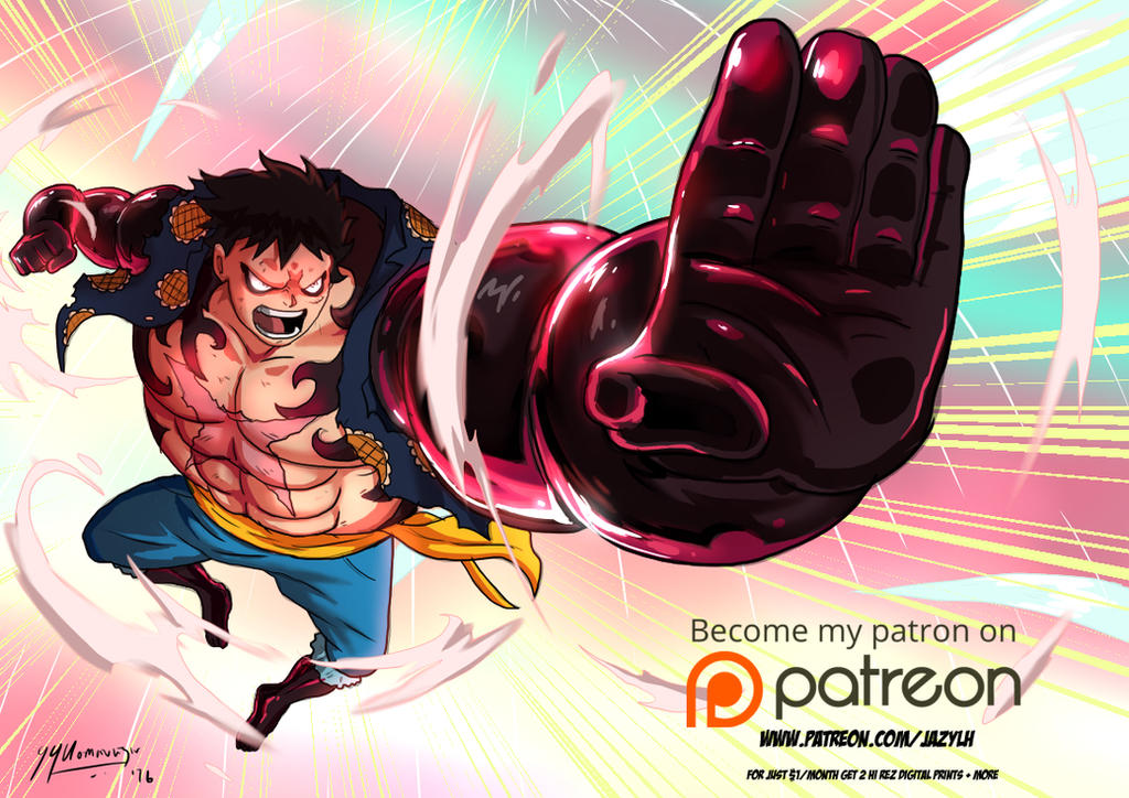 Luffy Gear 4- 1st Patreon Reward for October by JazylH