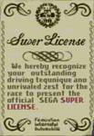 The official Sega Super License