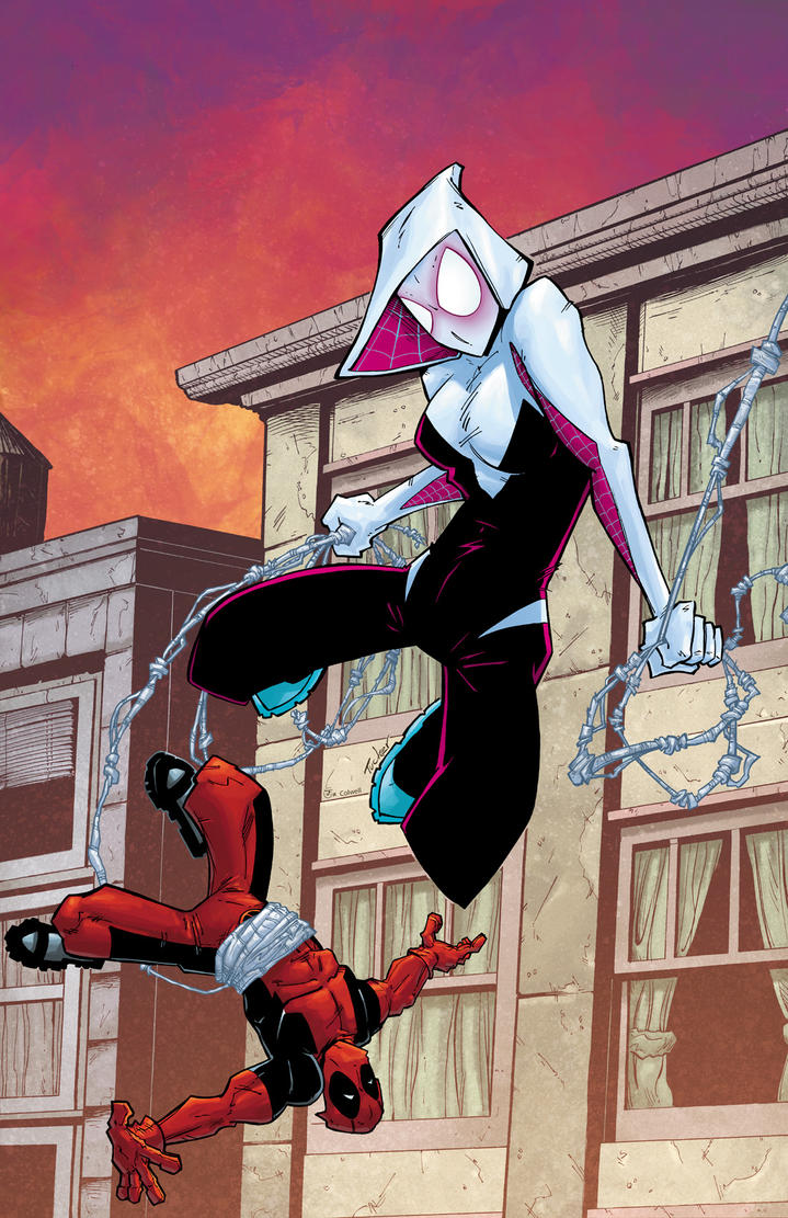Spider-Gwen and Deadpool by JeremyColwell