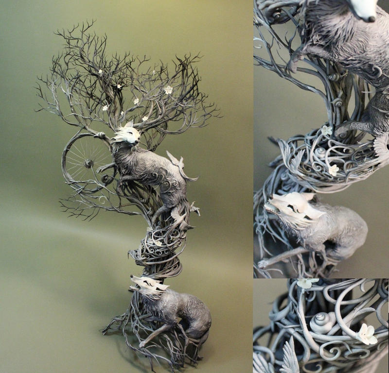 Masked Kitsune in the Sakura Tree by creaturesfromel