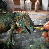 painting process on iguana by creaturesfromel