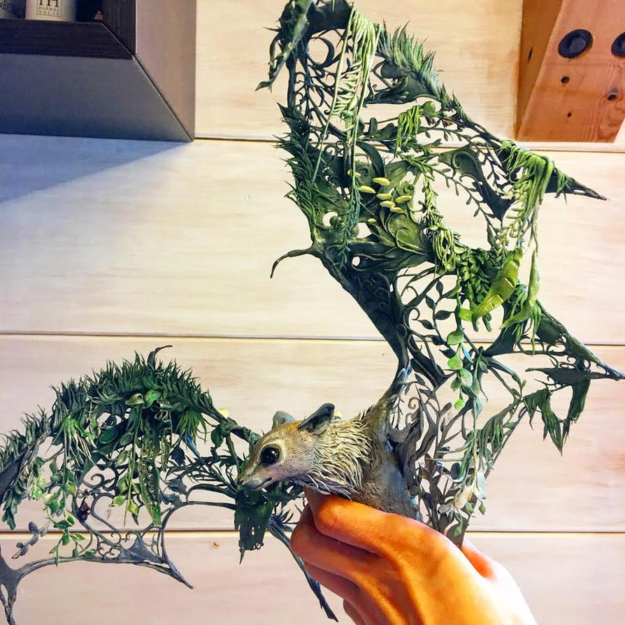 bat sculpture in process by creaturesfromel