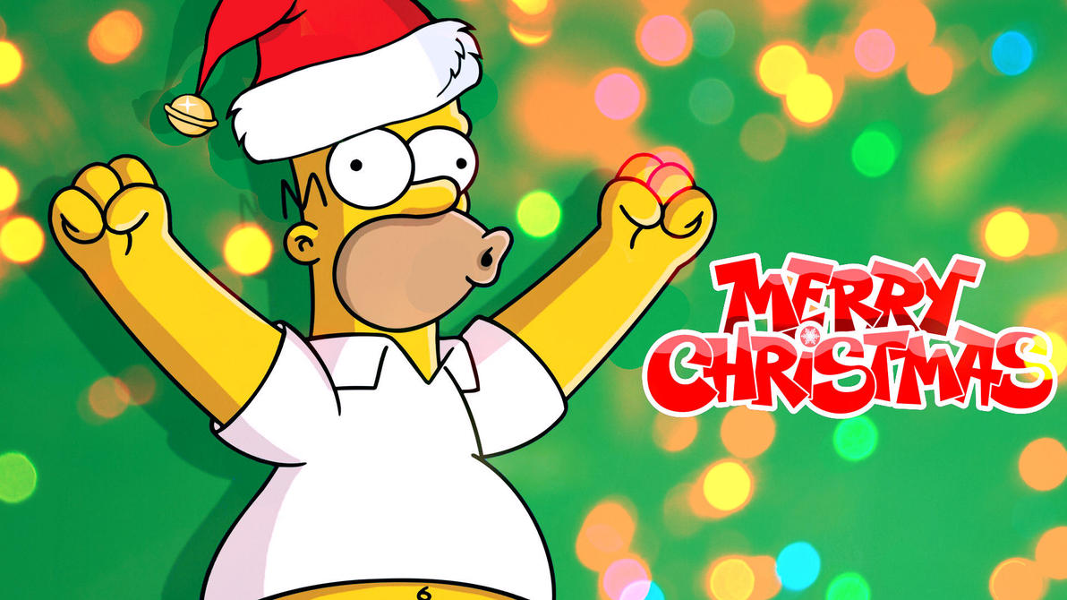 the simpsons homers merry christmas wallpaper by