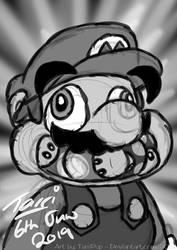 BW Sketch - Mario by TarriPup