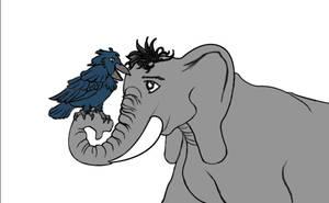Elephant and crow
