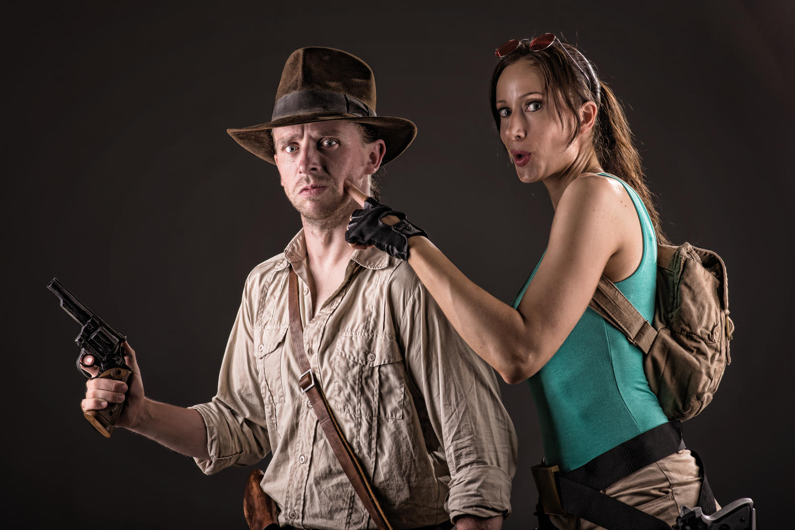 Lara Croft messing with Indiana Jones by ShonaAdventures
