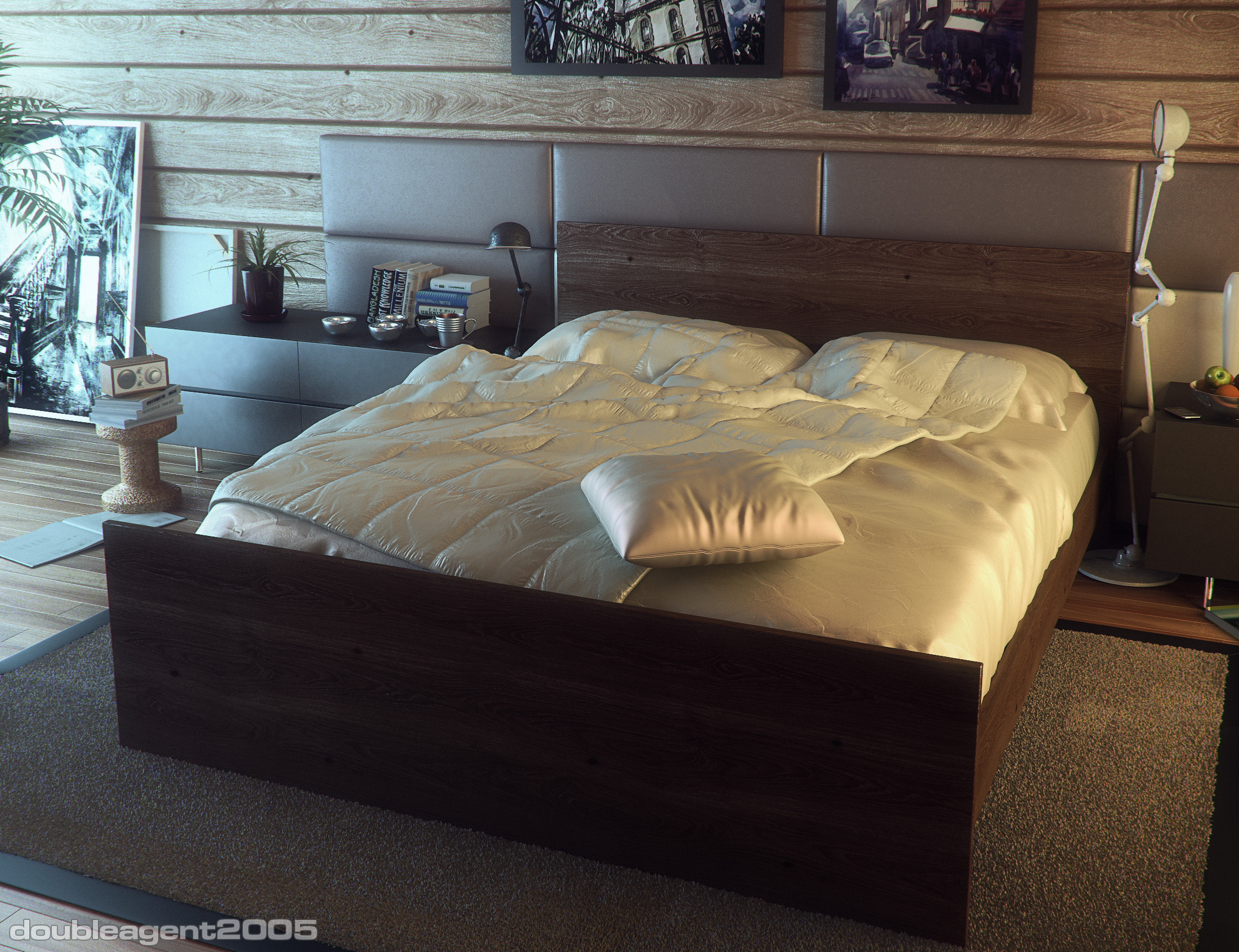 Bedroom interior for log house by doubleagent2005