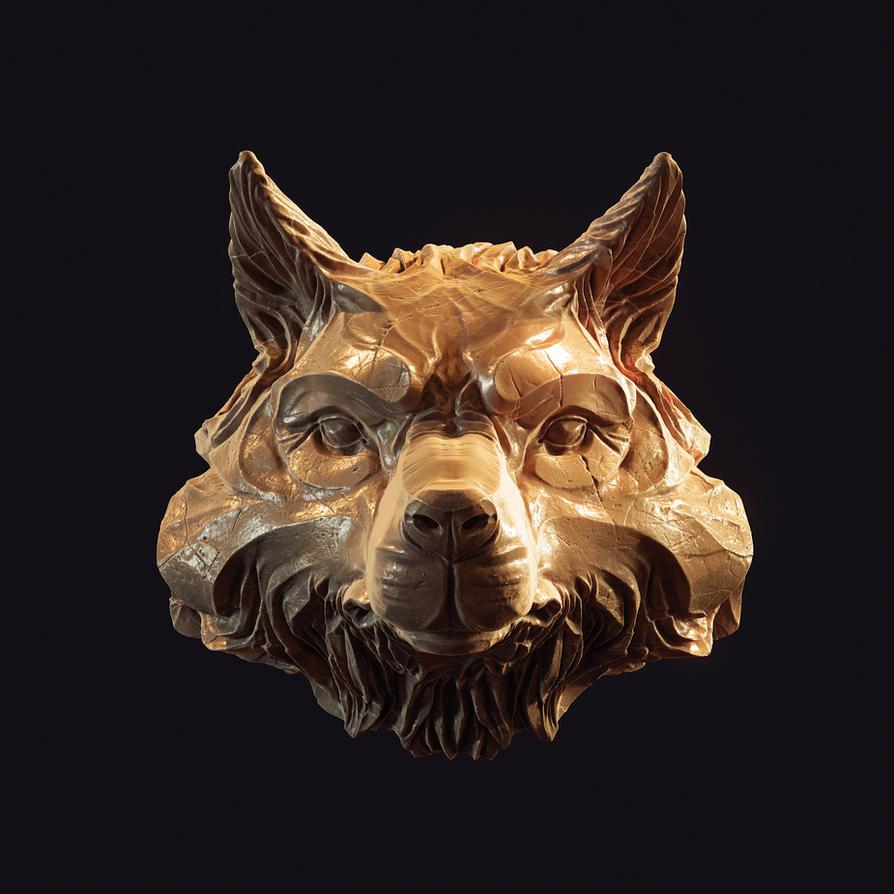 Wolf head pendant 3d print model by doubleagent2005
