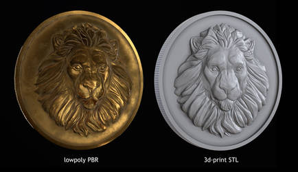 Lion Coin lowpoly PBR and Hipoly asset Low-poly 3D by doubleagent2005