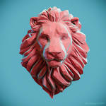 Low poly Lion Head Pendant by doubleagent2005