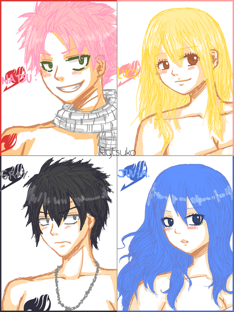 Color sketch : Natsu - Lucy - Gray - Juvia by Rytsuko