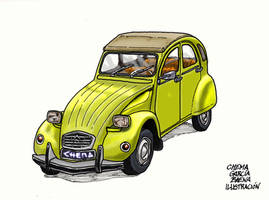 Yellow Citroen 2CV by ChemaIllustration