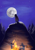 The Moon and the Fire by ChemaIllustration