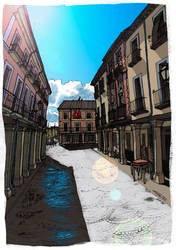 Calle Mayor (color) by ChemaIllustration