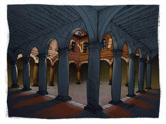 University Courtyard by ChemaIllustration