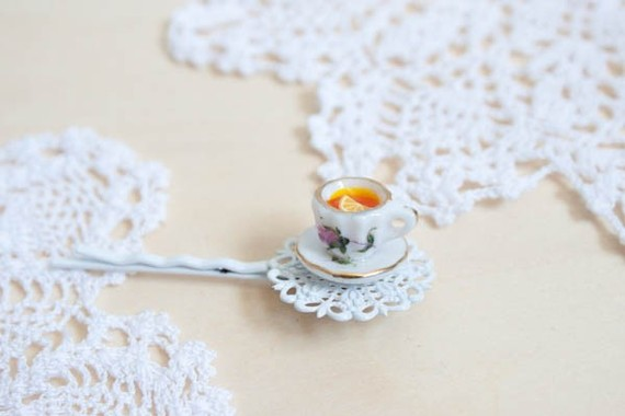 Tea Cup Hair Clip by YourSweetTreat