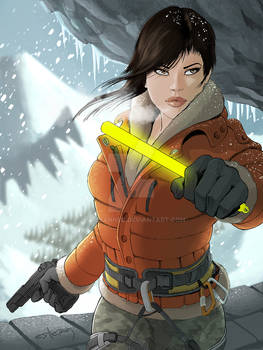Lara Croft AR illustration