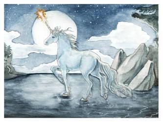 Unicorn in Moonlight