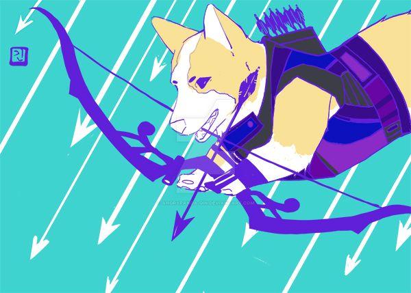 Hawkeye Corgi by Angrypanda-Gin