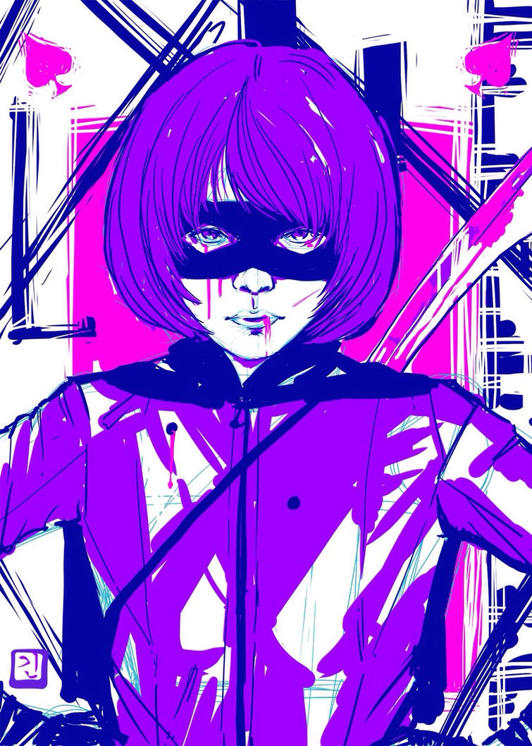 Hit-girl postcard by Angrypanda-Gin