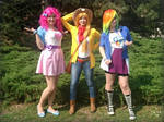 Pinkie Pie, Applejack and Rainbow Dash EG cosplay