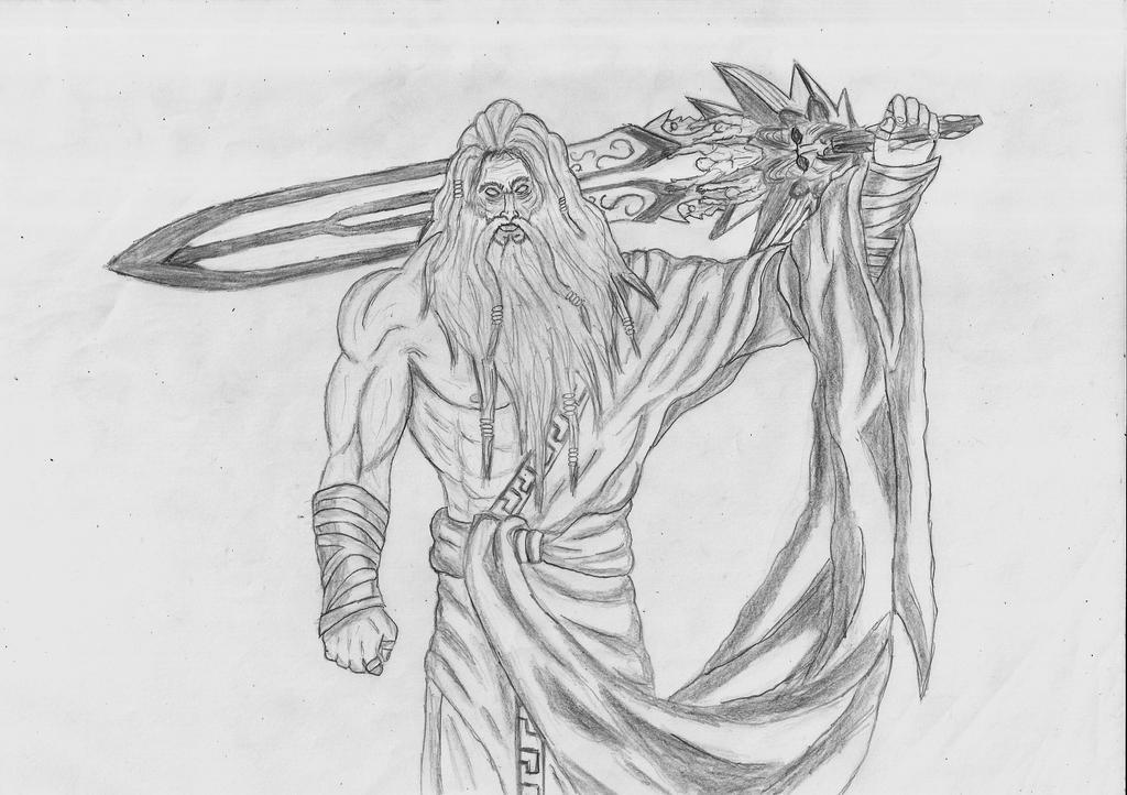 Zeus Line Drawing : Zeus god of war drawings sketch coloring page