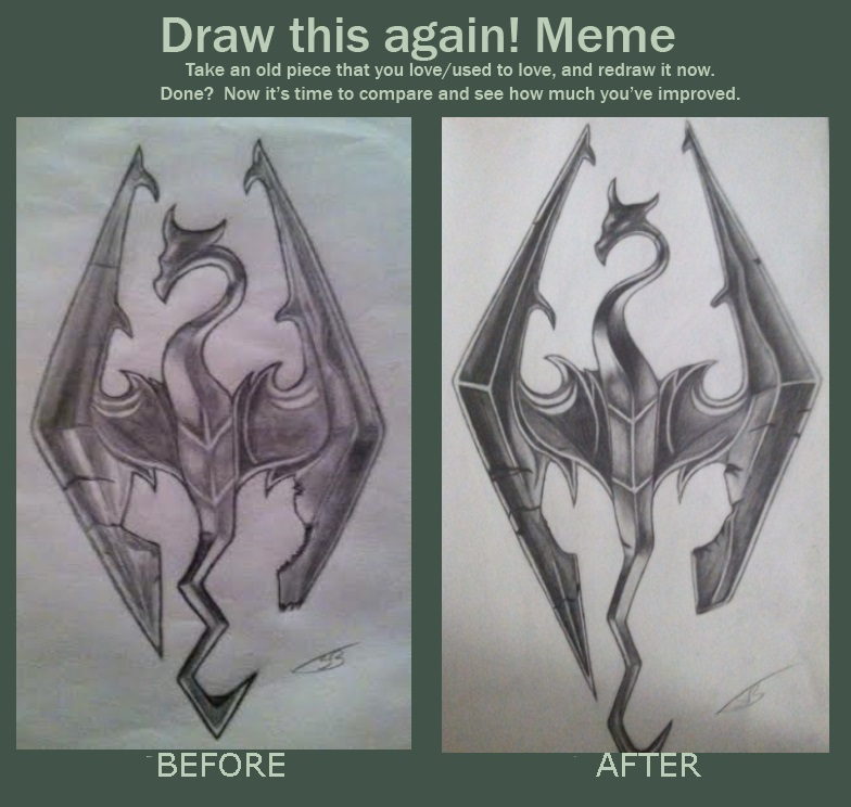 Skyrim Logo, Draw this again! Meme by AngelWolfie67