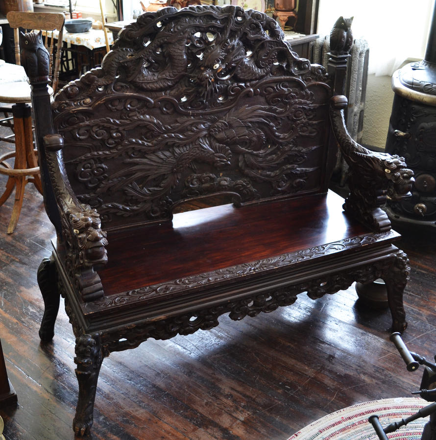 STOCK - Oriental Carved Bench by jocarra