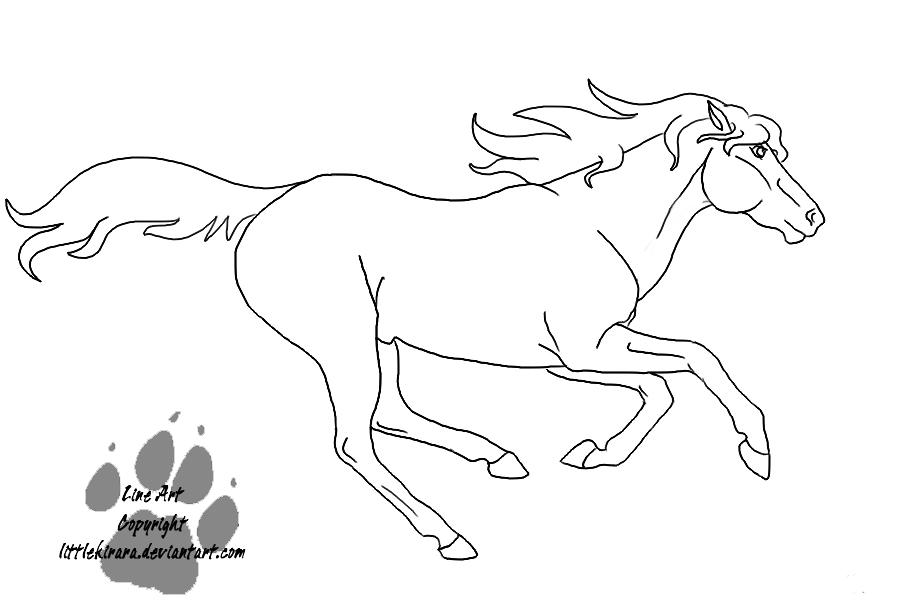 running stallion line art by littlekirara on deviantart
