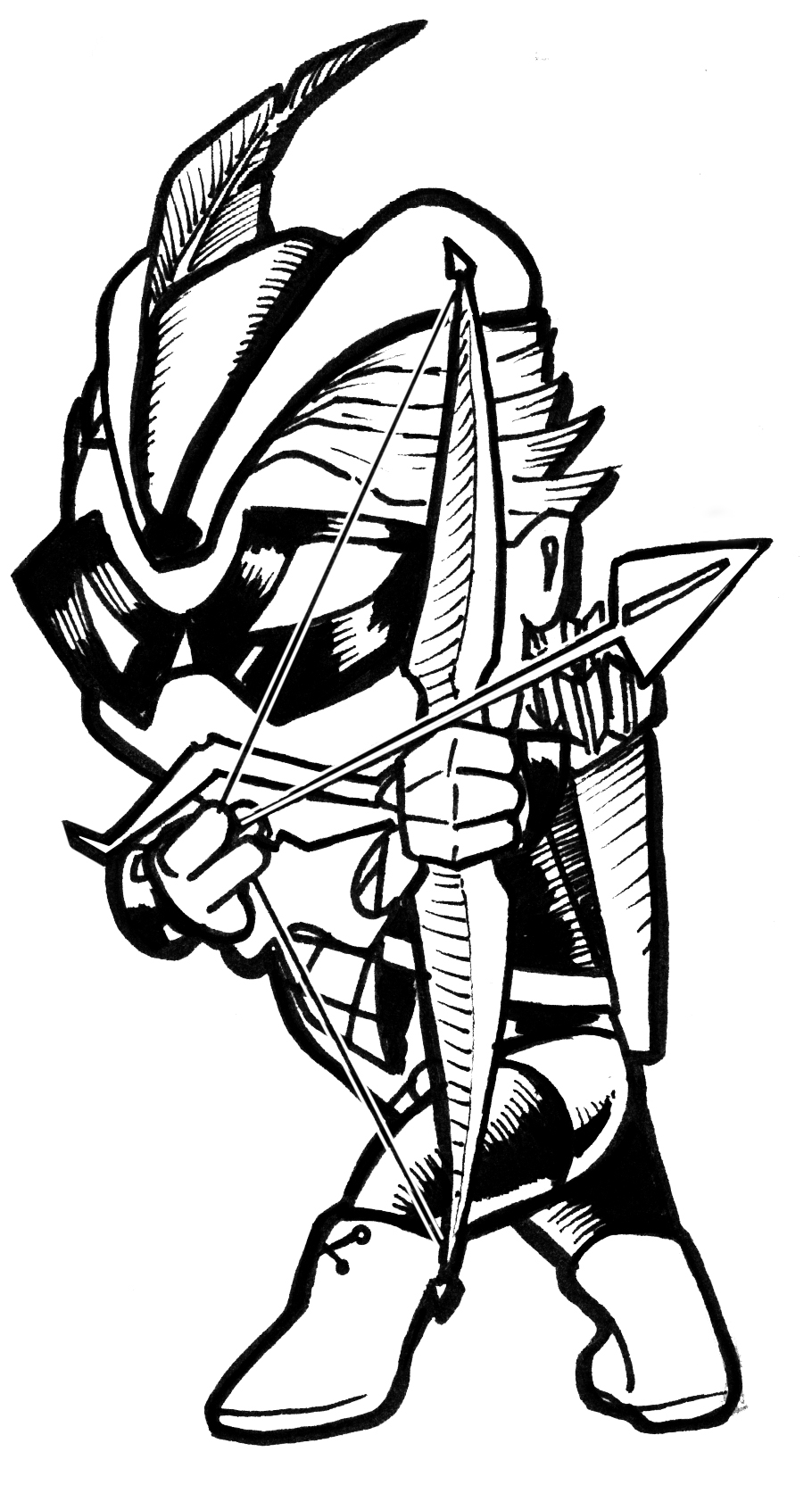 green arrow chibi black and white by artildawn on deviantart - Green Arrow Coloring Pages