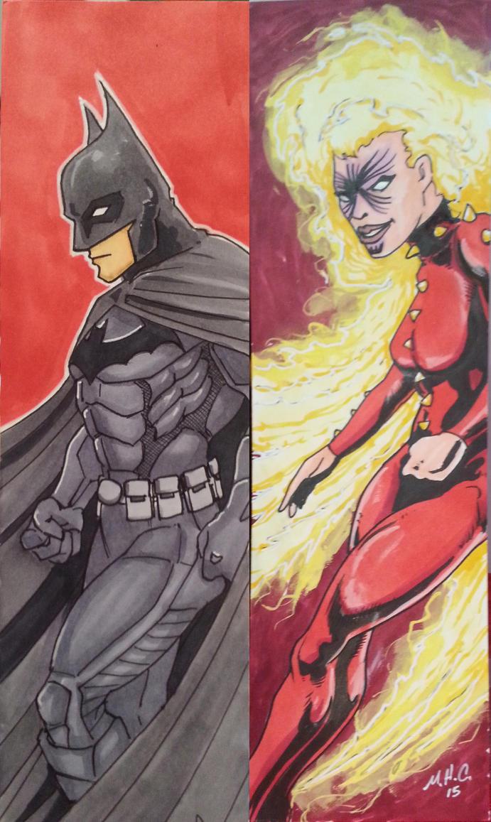 Batman and Rachel Summers bookmarks by artildawn
