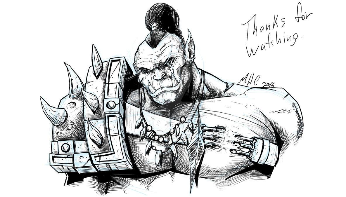 Orc sketch with replay available by artildawn