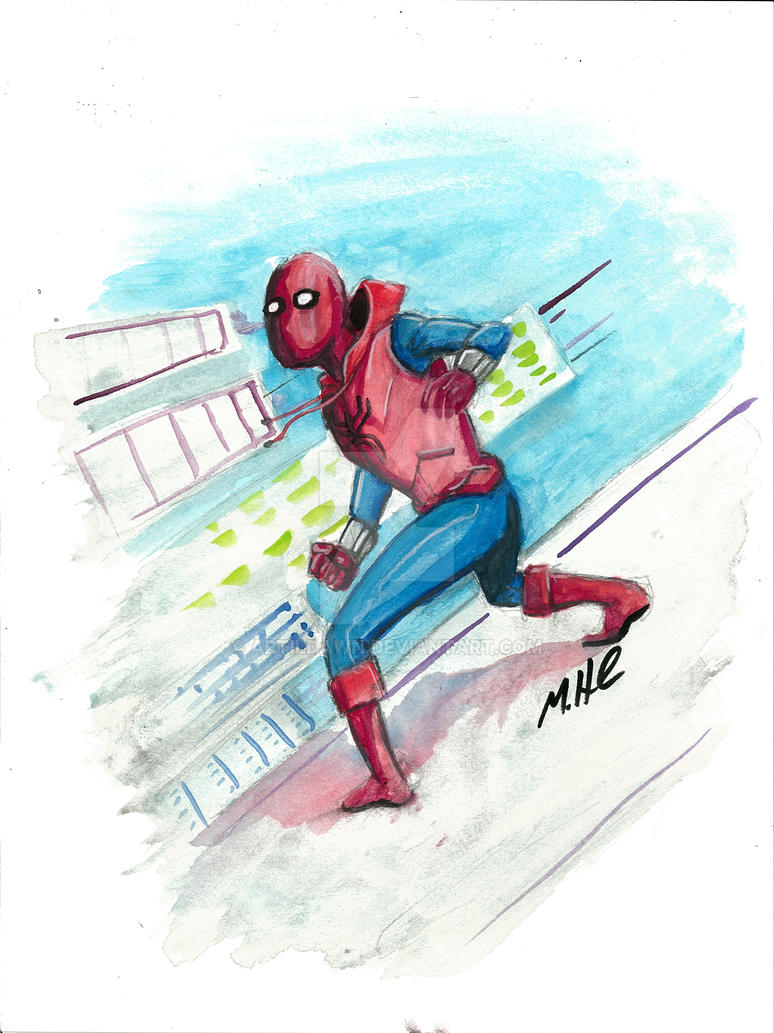 Homemade Spider Suit watercolors by artildawn
