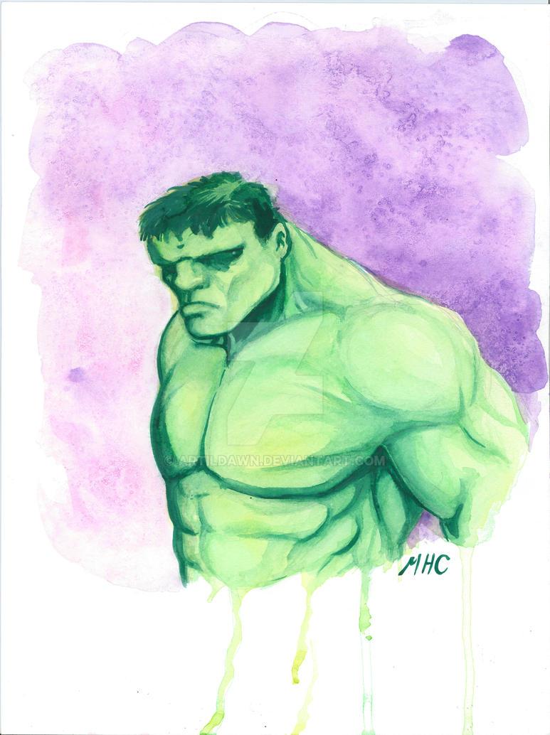 Hulk watercolor by artildawn
