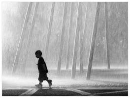 Boy and fountain