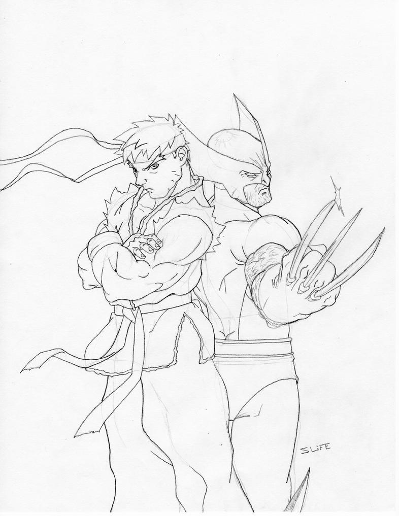 Line Drawing Vs Value Drawing : Marvel vs capcom sketch by jwientjes on deviantart
