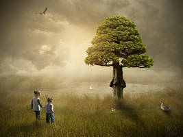Tree by the lake by gestandene