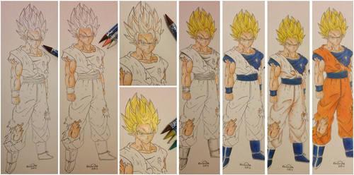 SSJ2 Goku colouring progress