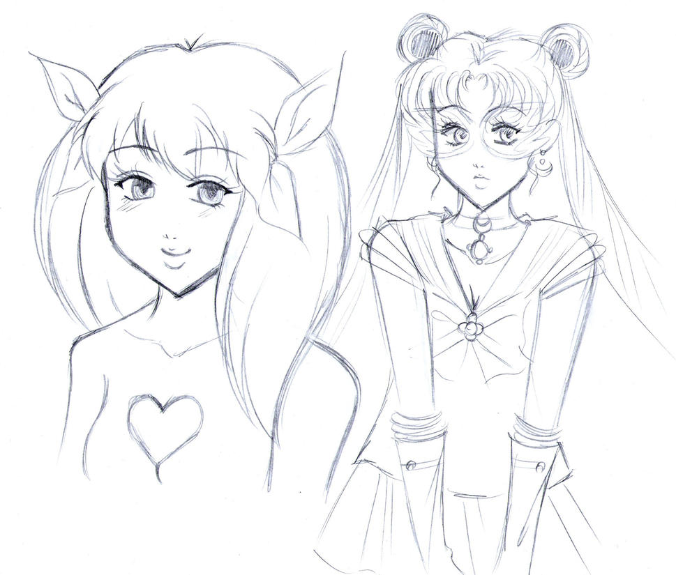 Wedding Peach and Sailor Moon (Sketch) by ninjin4ever