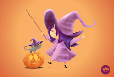 Little witch with her cat