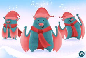 Singing bats trio