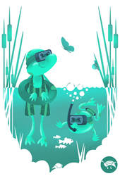 Cute frogs swimming in the pond with diving equipm