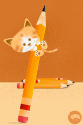 Cat mischief with pencils