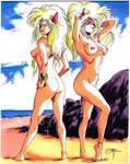 The Puma Sisters at the Beach by CD007